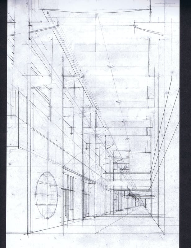 Perspective sketch of an interior 'main street'