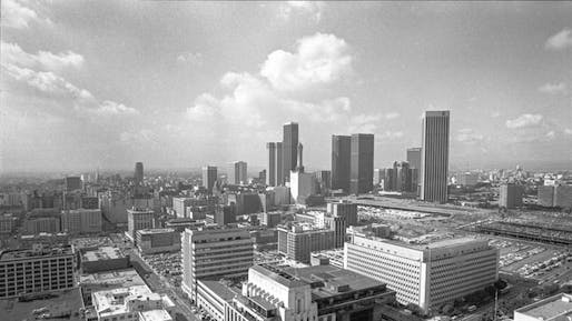 By 1979, voters had killed a 13-story height limit on downtown Los Angeles buildings and a new skyline was beginning to take shape. (via latimes.com; Photo: Bruce Cox)