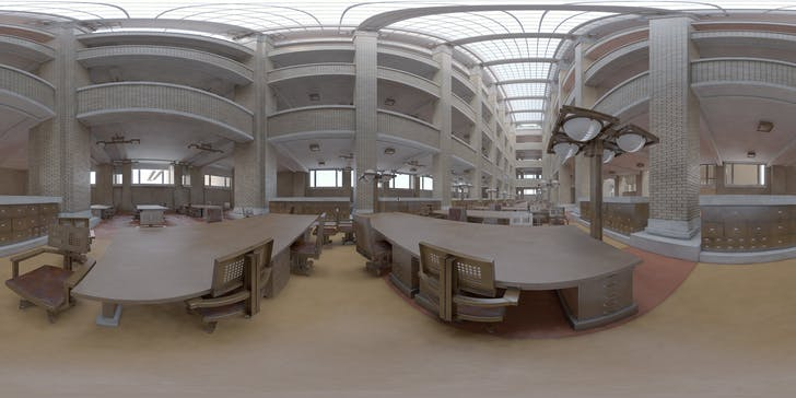 How does COVID-19 fit into the larger history of changes in office design and culture? Shown: Digital reconstruction of the Larkin Administration Building in Buffalo, designed by Frank Lloyd Wright. Photo courtesy of Flickr user Hooked On The Past David Romero