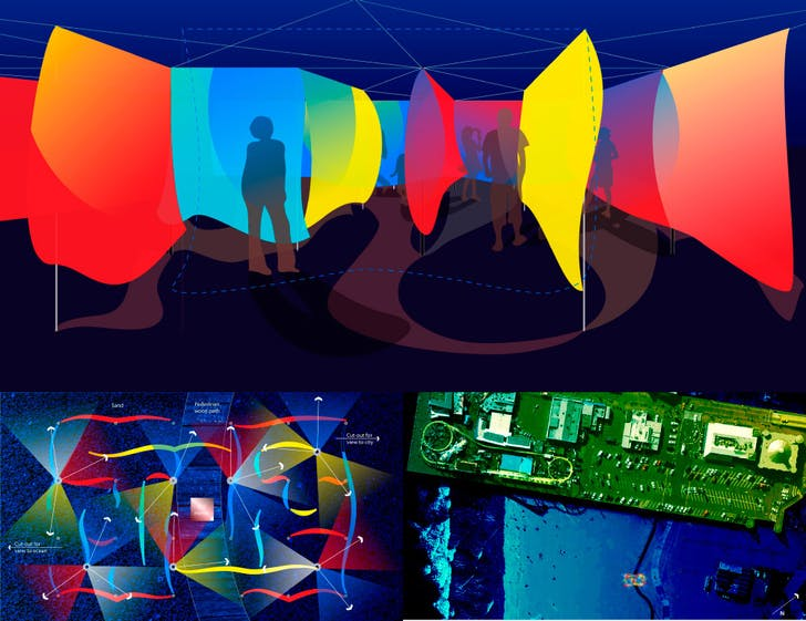 Beach Maze. (Proposal for Glow Festival in Santa Monica, CA, 2010)