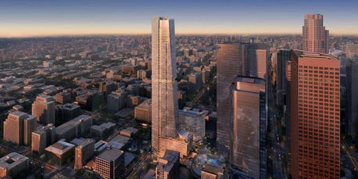 Rendering of the Angels Landing redevelopment in Downtown Los Angeles. Credit: Handel Architects, via urbanize.la.