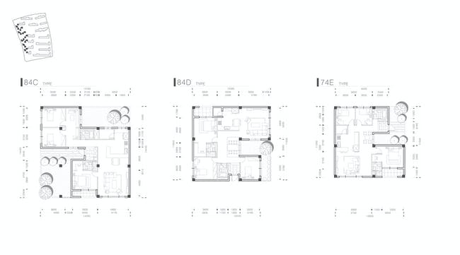 Unit plans of small buildings.