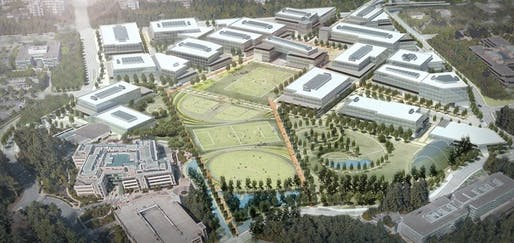 Rendering of the proposed Microsoft corporate campus expansion. Image courtesy of Microsoft.