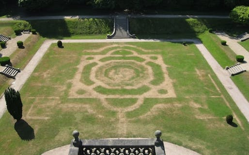 The scorched lawns at Gawthorpe Hall, Lancashire, have revealed the outlines of the 19th-century Victorian garden which was removed in 1946.