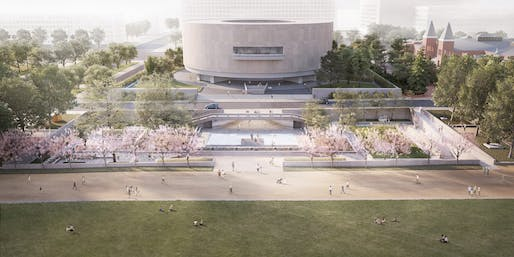 Rendering of the Hiroshi Sugimoto-designed concept for the Hirshhorn's Sculpture Garden. Image courtesy of Smithsonian Institution.