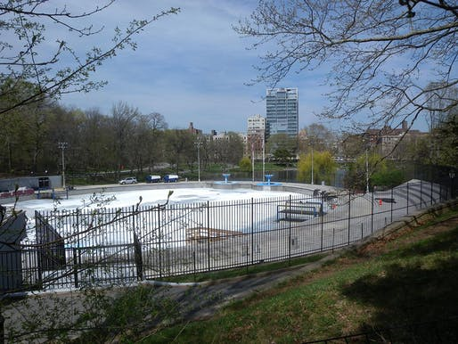 View of the Lasker Pool and Skating Rink, elements due to be renewed under the renovation plans. Image courtesy of Wikimedia user Jim.henderson.