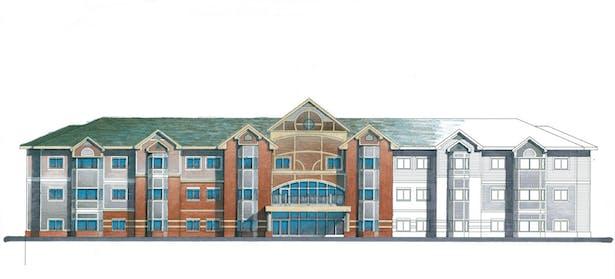 Senior Housing 3 stories, main elevation,Leo A Daly Architecture, 4/02-4/05, Omaha, NE