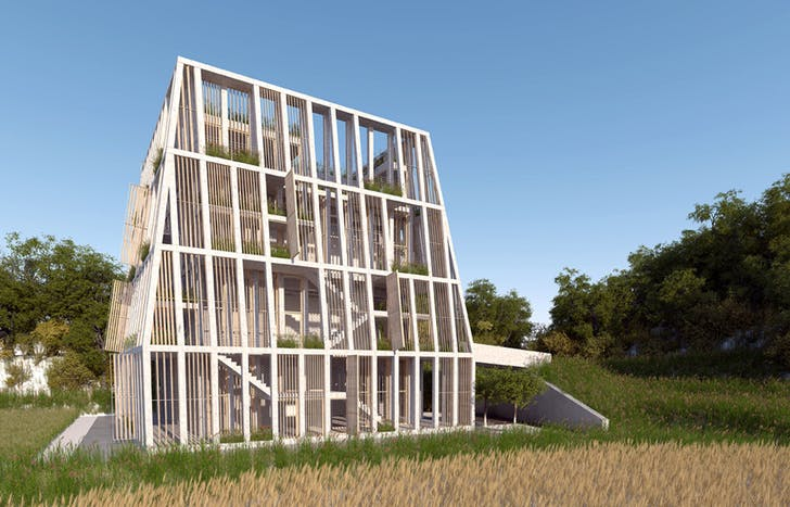 The orphanage has a double concrete frame, and is meant to withstand seismic acitivity. Image courtesy of MOS Architects