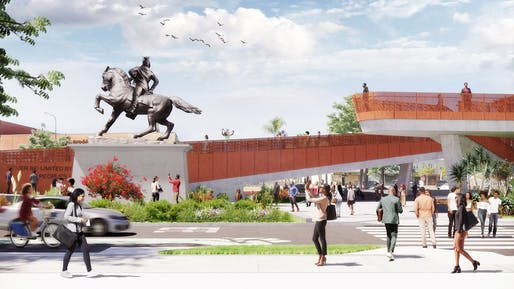 View of Destination Crenshaw's Sankofa Park with Kehinde Wiley's Rumors of War figure in the location of his planned Destination Crenshaw sculpture, which will be a bookend to Rumors of War and feature a female figure. Rendering by Perkins&Will, courtesy of Destination Crenshaw.