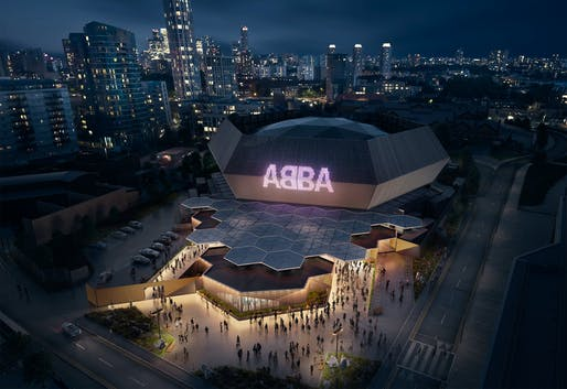 Rendering of the Stufish-designed temporary venue for the ABBA Voyage concert on Pudding Mill Lane in London. Image courtesy ABBA Voyage