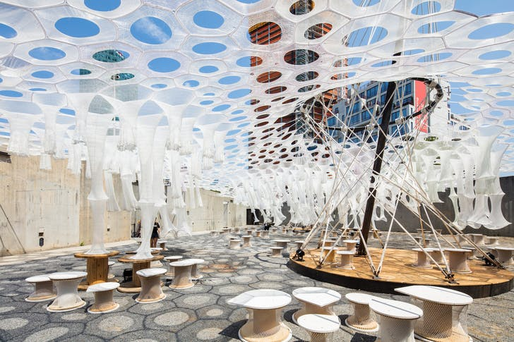 Lumen by Jenny Sabin Studio for the Museum of Modern Art and MoMA PS1's Young Architects Program 2017, on view at MoMA PS1 from June 29 to September 4, 2017. Image courtesy of MoMA PS1. Photo by Pablo Enriquez.