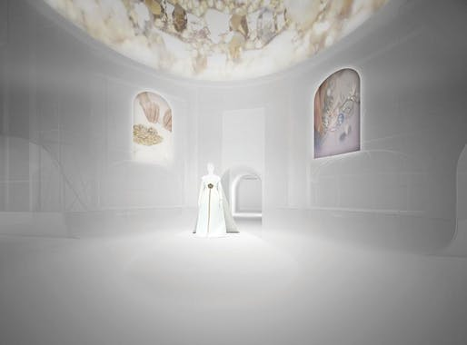 A rendering of Shigematsu's designs for the Met's Costume Institute show includes ceiling projections. Image credit OMA via the Wall Street Journal.
