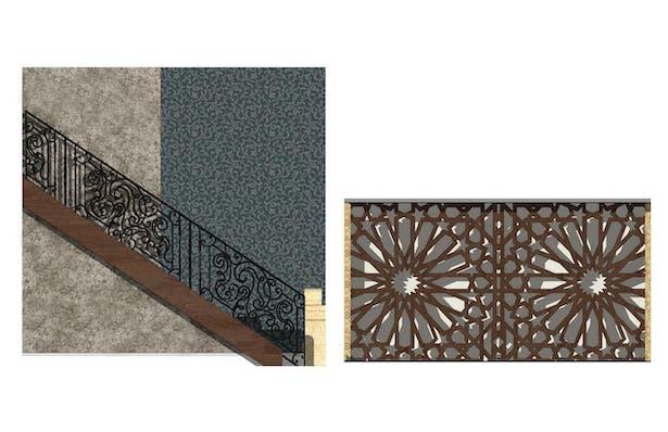 Custom Railing Detail and Custom Lobby Wall Detail