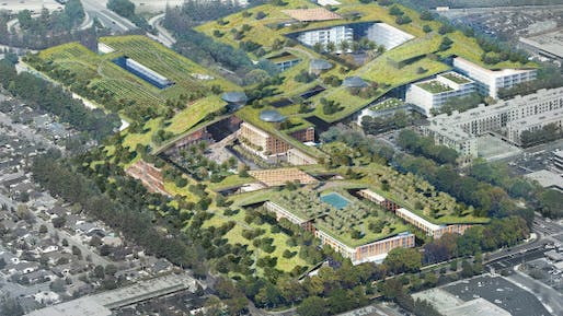 The project, slated to be the world's largest green roof, would include a 3.8 mile trail network, organic gardens, and an amphitheater, among other features. Credit: Sand Hills Property Co.