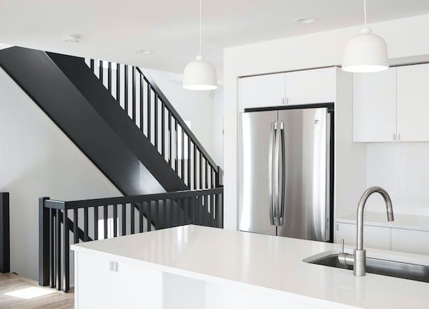 Modern, Cost-Effective Stair & Kitchen Design