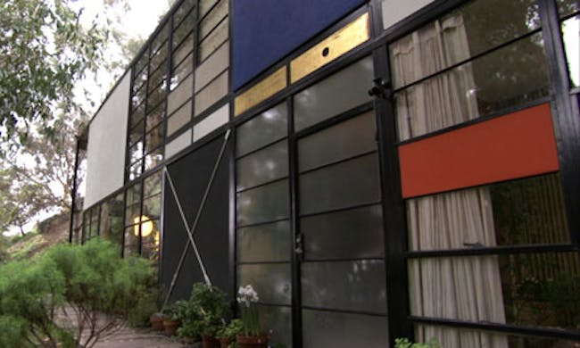 Check out the swag curtains … the Eames House, Pacific Palisades, Los Angeles.