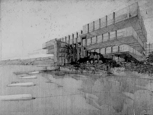The unbuilt design for the League of Nations Palace by Schindler and Neutra. Image courtesy of Ensemble Studio Theatre/Los Angeles