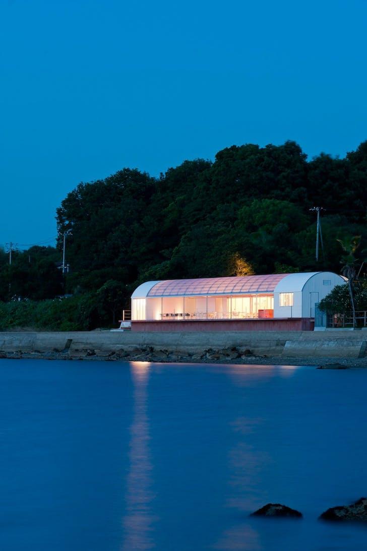 Restaurant On The Sea on Teshima Island, Japan by CASE-REAL. Photo: Hiroshi Mizusaki
