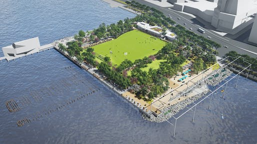 Aerial rendering of the new Gansevoort Peninsula Park project in New York City. Credit: James Corner Field Operations, courtesy of the Hudson River Park Trust.