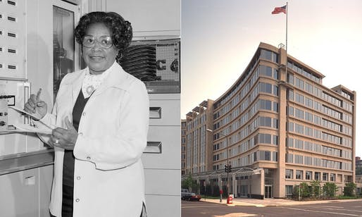 Mary W. Jackson and the NASA headquarters building in Washington, D.C. that now bears her name. Images courtesy of NASA.