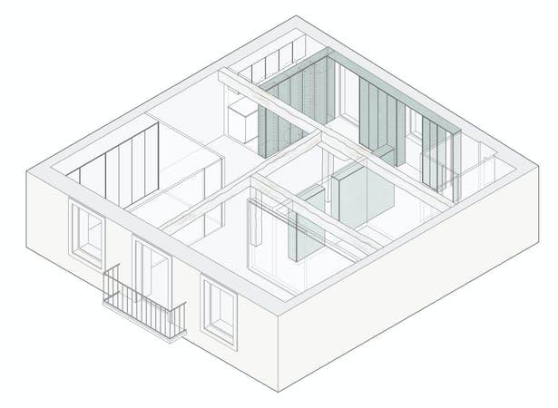 Axonometric view of apartment interior