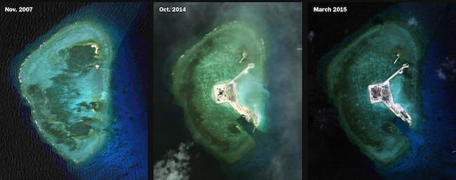 The Gaven Reef currently measures about 300 by 250 meters. Credit: CSIS Asia Maritime Transparency Initiative/DigitalGlobe via Washington Post