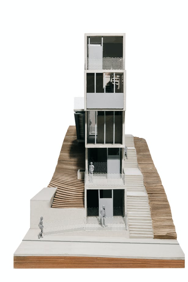 Model, front view