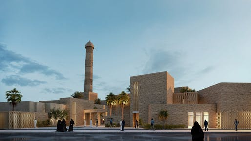 A rendering of the proposed Al-Nouri Mosque complex in Mosul, Iraq. Rendering by Salah El Din Samir Hareedy and team