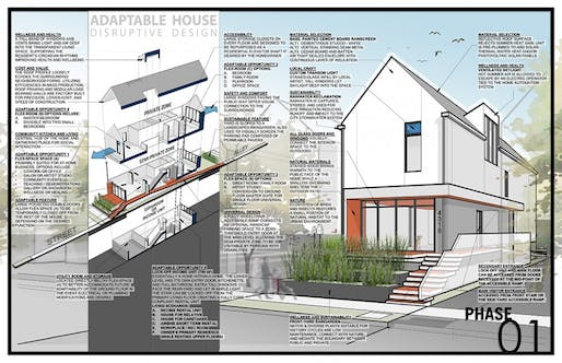 Greg Tamborino's winning affordable housing proposal can be subdivided into multiple units. Image courtesy of Disruptive Design.