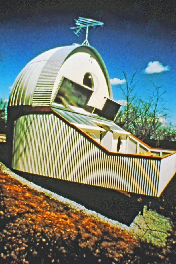A solar powered vacation house 1973, made from steel agricultural components.
