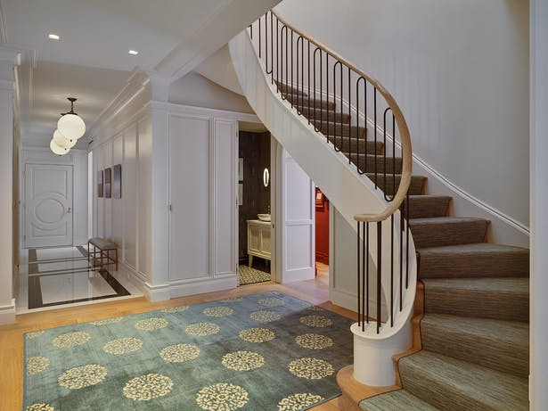 The curved staircase.
