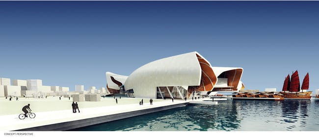 Future Project of the Year, Future projects competition winner, and Future projects culture winner: National Maritime Museum of China by Cox Rayner Architects. Image courtesy of WAF.