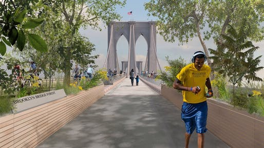 """""""Brooklyn Bridge Forest,"""" Pilot Projects Design Collective, Cities4Forests, Wildlife Conservation Society, Grimshaw and Silman, New York and Montreal"""