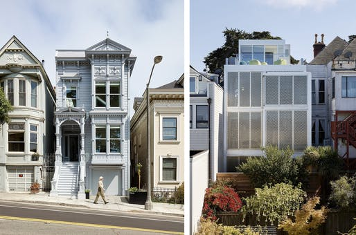 Front and back elevations of Alamo Square Residence, by Jensen Architects