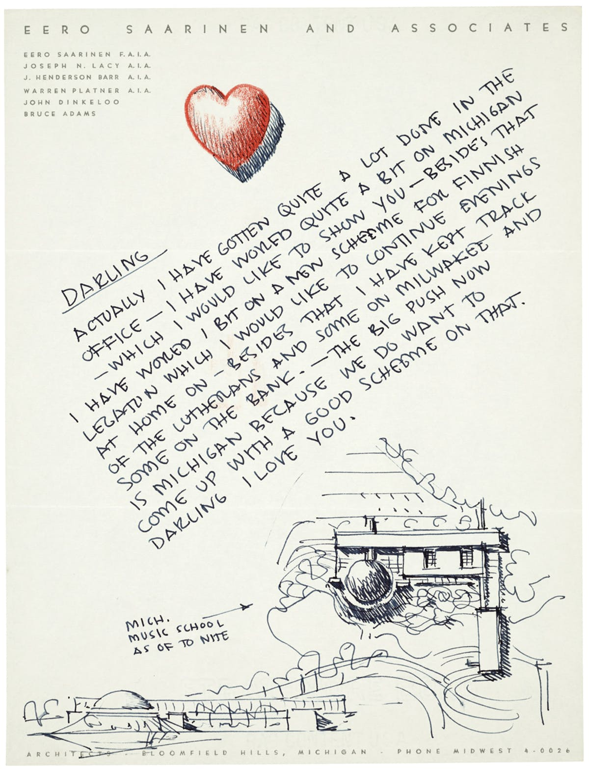 Eero Saarinen S Love Letters News Archinect