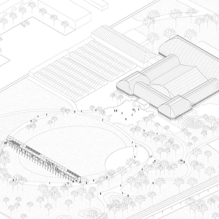 Axonometric view of the proposed pavilion adjacent to the Garfield Park Conservatory. Courtesy Dellekamp Arquitectos.