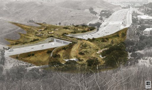 Rendering of the proposed 101 Freeway crossing in Agoura Hills. Image: National Wildlife Federation/Living Habitats.