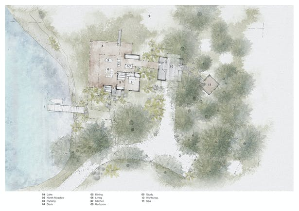 Whispering Firs - Floor Plan (Rendering by Wittman Estes)