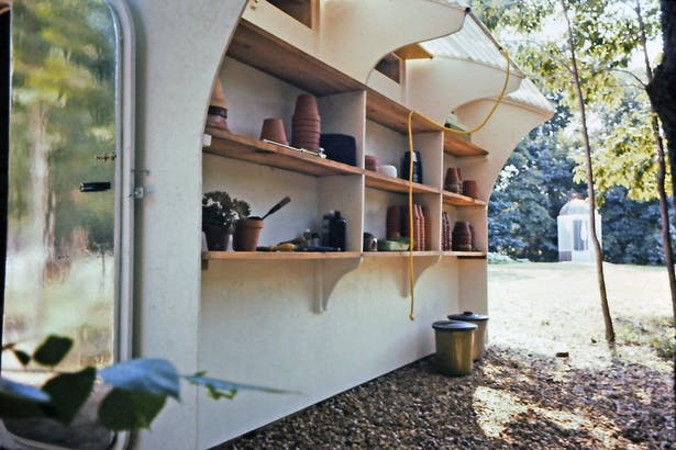 outdoor storage built into the north wall.