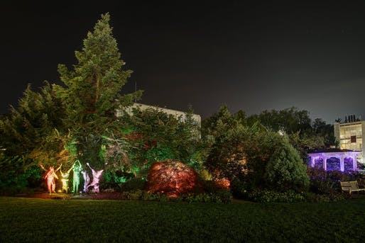 """One view of Stella Murray's Nittany Lights project from 2018. """"Walks of Light,"""" a landscape lighting scheme for the Hintz Alumni Garden, """"tells the story of how the coming together of people of all different 'colors' can bring about the peace that we seek,"""" said Murray. Credit: Christopher Levan, Levan Studios, LLC."""