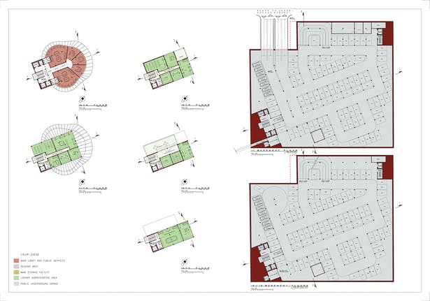 Board 5: Floor plans, levels 10-14 and basement garage levels -1 to -3