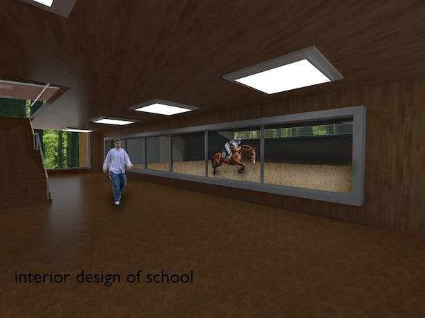 Interior design of school which has a practical class and theorical classes