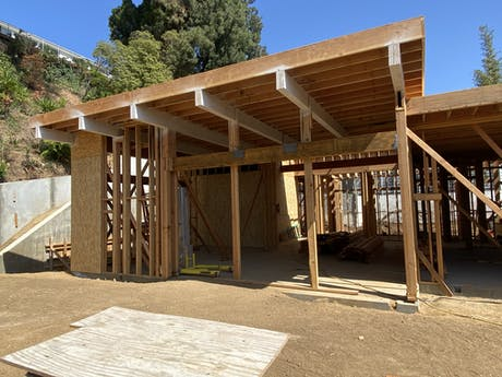 Framing is moving along at our Hollywood Hills Project