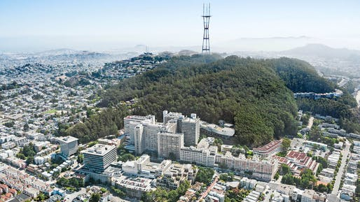 An aerial view of UCSF's Parnassus Heights campus. Photo: USCF/Courtesy Snøhetta