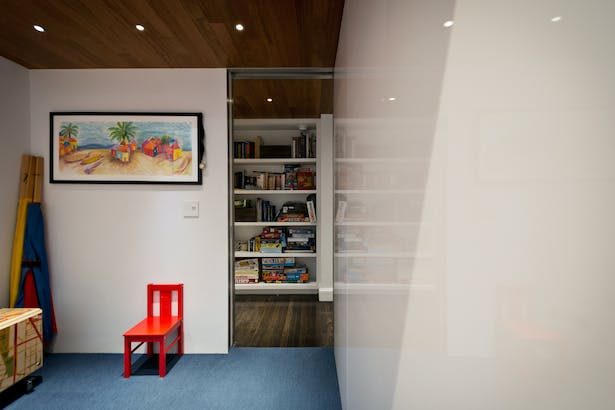 A Playroom is Located Below the Loft