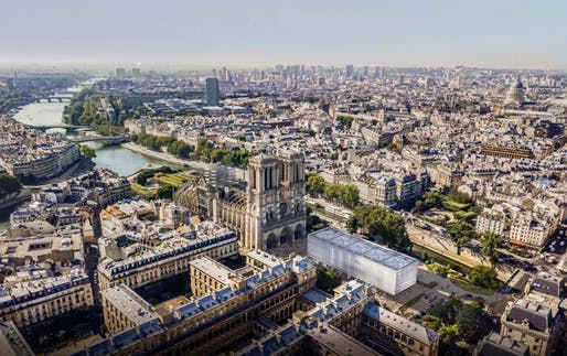 Gensler has unveiled a charred timber pavilion to temporarily fulfill Notre Dame Cathedral's cultural and religious functions. Image courtesy of Gensler.