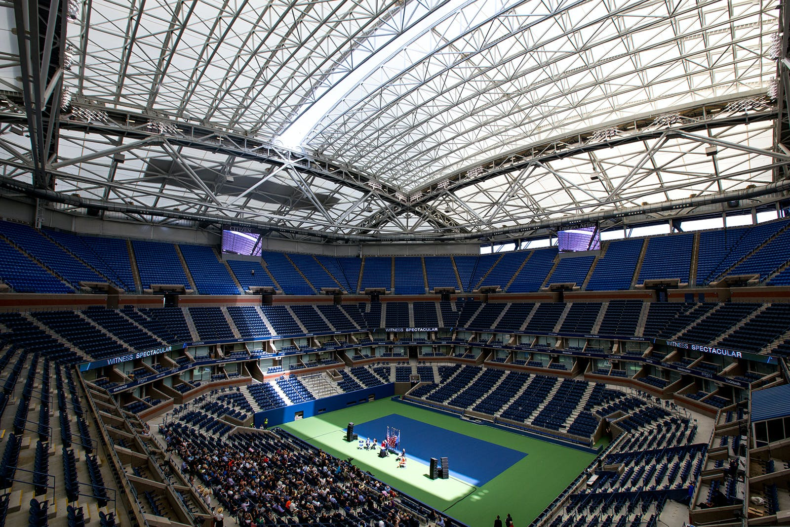 New $150M PTFE membrane roof at Arthur Ashe Stadium blocks the