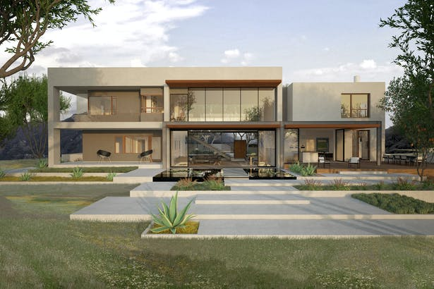 Rear elevation of a house high up in Agoura Hills, where the public spaces open up onto a generous outdoor space. Floor to ceiling glass windows and doors emphasize the public rooms.