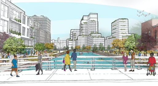 A rendering of the Gowanus Canal after the proposed rezoning. Image: New York City Planning