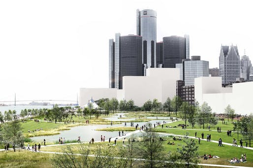 A redevelopment plan for Detroit's East Riverfront by SOM. Image: SOM, City of Detroit Planning and Development Department via urbanomnibus.net.
